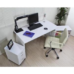 〔送料無料〕日本製 パソコンデスク3点セット 鏡面仕上げ w120cm 白 romanbag