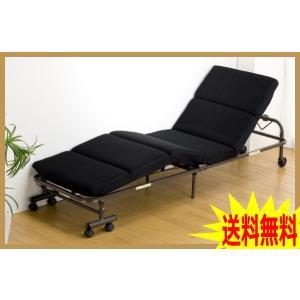 コンパクト折りたたみベッド リクライニング機能付き キャスター付き セミシングルサイズ|romanbag