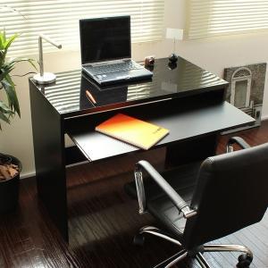 パソコンデスク PCデスク 木製机 スライドテーブル付き 鏡面仕上げ ハイデスク 国産 W90cm|romanbag