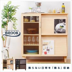 隠して飾る木製キッチン収納 レンジ台・食器棚  (約)幅90×奥行き40×高さ96cm romanbag