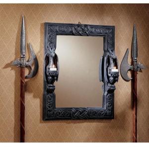 【ドラゴンズソーン ツイン センチネル(歩哨) 中世風ドラゴン壁掛け鏡 ミラー 彫像 彫刻/ Des...