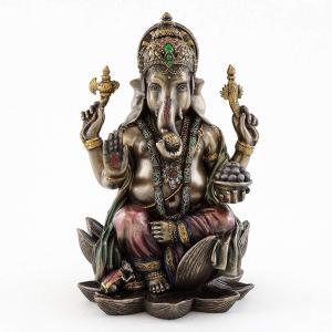 【トップコレクション製 ガネーシャ(夢をかなえるゾウ)ヒンズー教の象神 成功の神 ブロンズ風 彫像 ...