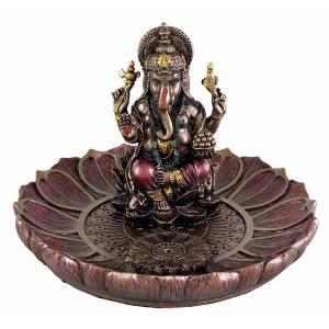 ヒンドゥー神 ガネーシャ(夢をかなえるゾウ)香炉プレート ブロンズ風彫像/ Hindu God Ganesha Incense Holder Plate r[輸入品 romando 02