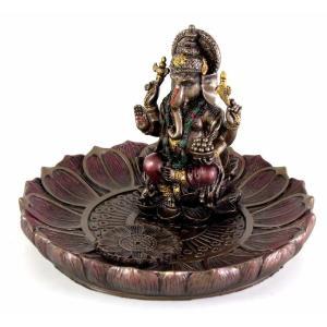 ヒンドゥー神 ガネーシャ(夢をかなえるゾウ)香炉プレート ブロンズ風彫像/ Hindu God Ganesha Incense Holder Plate r[輸入品 romando 03