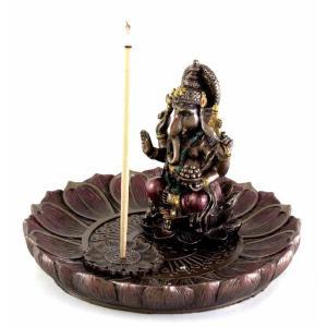 ヒンドゥー神 ガネーシャ(夢をかなえるゾウ)香炉プレート ブロンズ風彫像/ Hindu God Ganesha Incense Holder Plate r[輸入品 romando 04