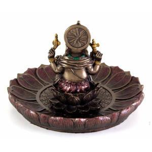 ヒンドゥー神 ガネーシャ(夢をかなえるゾウ)香炉プレート ブロンズ風彫像/ Hindu God Ganesha Incense Holder Plate r[輸入品 romando 05