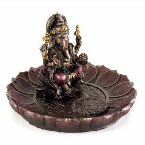 ヒンドゥー神 ガネーシャ(夢をかなえるゾウ)香炉プレート ブロンズ風彫像/ Hindu God Ganesha Incense Holder Plate r[輸入品 romando 06