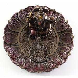 ヒンドゥー神 ガネーシャ(夢をかなえるゾウ)香炉プレート ブロンズ風彫像/ Hindu God Ganesha Incense Holder Plate r[輸入品 romando 07