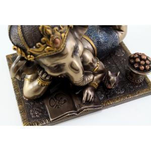 ネズミと本を読む、若いガネーシャ像 成功(富)と幸運のヒンドゥー教の象神 彫刻、ブロンズ風 彫像、 タット王の秘密の芸術品(輸入品)|romando|03
