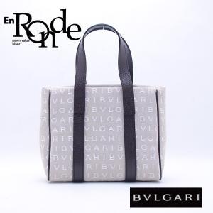 ブルガリ BVLGARI ハンドバッグ ミニトートバッグ ロゴマニア キャンバス ベージュ 中古 新入荷 おすすめ BV0086|ronde