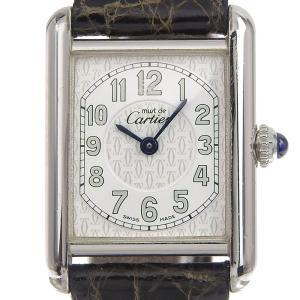 カルティエ CARTIER 時計 マストタンク レディース クォーツ 腕時計 SV925 革 ホワイト文字盤 中古 新入荷 CA0401|ronde