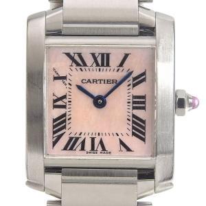 カルティエ CARTIER 時計 タンクフランセーズSM レディース クォーツ 腕時計 SS ピンクシェル文字盤 中古 新入荷 CA0402|ronde