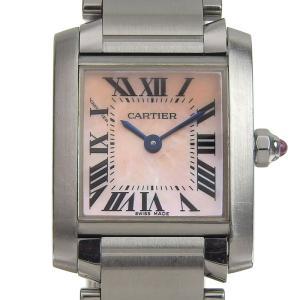 カルティエ CARTIER 時計 タンクフランセーズSM レディース クォーツ 腕時計 SS ピンクシェル文字盤 中古 新入荷 CA0403|ronde