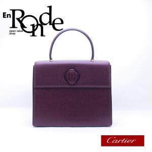 カルティエ Cartier ハンドバッグ ハンドバッグ ターンロック レザー ボルドー 中古 新入荷 おすすめ CA0378|ronde