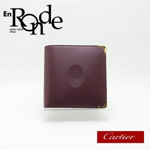 カルティエ Cartier 二つ折財布 カルティエ 二つ折り財布 マストライン L3000451 レザー ボルドー 中古 新入荷|ronde