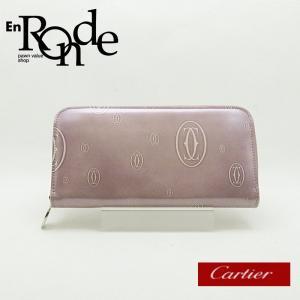 カルティエ Cartier 長財布 ラウンドファスナー財布 ハッピーバースデー L300255 エナメル ピンク系 中古 新入荷|ronde