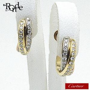 カルティエ Cartier ピアスイヤリング トリニティ イヤリング K18/フルダイヤ WG(ホワイト)/YG(イエロー)/PG(ピンク) 中古 おすすめ CA0079|ronde