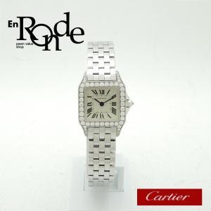 カルティエ Cartier レディース腕時計 サントスドゥモワゼル K18WG/ダイヤ アイボリー文字盤 中古 新入荷 おすすめ|ronde