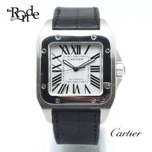 カルティエ Cartier メンズ時計 サントス100 LM ステンレス/革 シルバー文字盤 中古 新着|ronde
