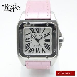 カルティエ Cartier レディース時計 サントス100MM 199217LX ステンレス/革 白文字盤/ベルトピンク 中古|ronde