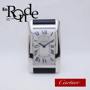 カルティエ Cartier その他の時計 テーブルクロック タンクアメリカン SS/革 シルバー文字盤 中古 新入荷 おすすめ CA0366 ronde