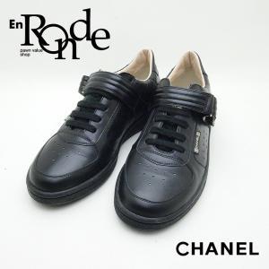 シャネル CHANEL 靴スカーフ スニーカー スポーツライン G24837 レザー/ラバー 黒 中古 新入荷|ronde