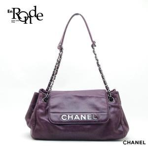 シャネル CHANEL ショルダーバッグ チェーンショルダー レザー 紫色 中古|ronde