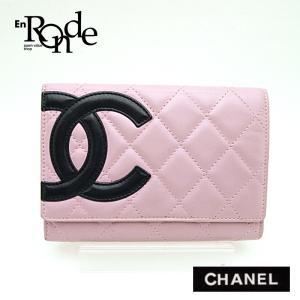 シャネル CHANEL 二つ折財布 カンボンライン財布 ラムスキン ピンク/黒 中古|ronde