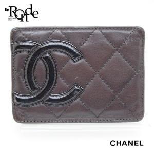 シャネル CHANEL 財布 カードケース カンボンライン A26725 レザー 茶/オレンジ 中古 おすすめ|ronde