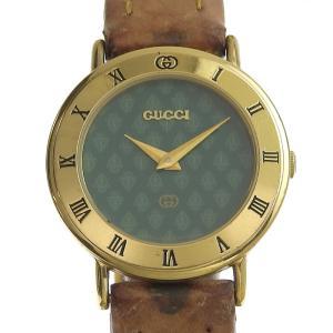 グッチ GUCCI レディース クォーツ 腕時計 GP/革 グリーン文字盤 3000L 中古 新入荷 GU0291|ronde