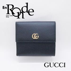 グッチ GUCCI 二つ折財布 フレンチフラップウォレット プチマーモント 456122 レザー ブラック 新品同様 新入荷 おすすめ GU0177 ronde
