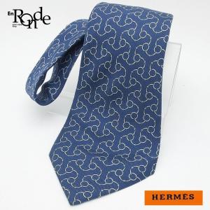 エルメス HERMES 小物アクセサリー ネクタイ シルク100% ネイビー 中古|ronde