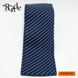 エルメス HERMES 靴スカーフ ネクタイ ストライプ シルク100% 紺/白 中古|ronde