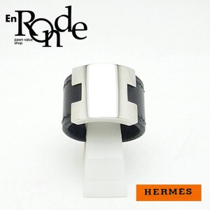 エルメス HERMES 指輪リング ルーリーリング レザー/メタル 黒/シルバー 中古 新入荷|ronde