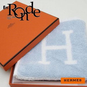 エルメス HERMES 小物アクセサリー ハンドタオル アヴァロン コットン100% ブルーグラシエ 未使用品 新入荷 新着|ronde