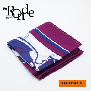 エルメス HERMES 小物アクセサリー エルメス ハンカチ コットン100% 紫/白 新品同様 新入荷 おすすめ 新着|ronde
