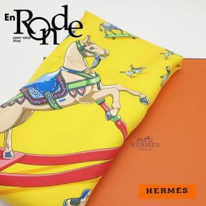 エルメス HERMES 靴スカーフ エルメス スカーフ カレ90 シルク100% イエロー/木馬柄 中古 新入荷 新着