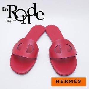 エルメス HERMES 靴スカーフ サンダル シェーヌダンクル レザー レッド 中古 再入荷 おすすめ HE0305|ronde