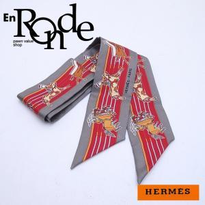 エルメス HERMES 靴スカーフ ツイリー シルク100% グレー/オレンジ 中古 新入荷 おすすめ 新着|ronde