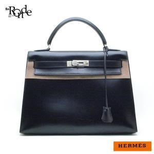 エルメス HERMES ハンドバッグ ケリー32cm ボックスカーフ 黒、 中古 おすすめ...