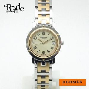 エルメス HERMES レディース時計 クリッパー CL4220 ステンレス/GP(金メッキ) イエロー文字盤 中古 ronde