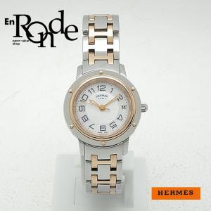 エルメス HERMES レディース腕時計 クリッパー クラシック CP1221 SS/PGP(ピンクメッキ) シルバー/シェル文字盤 中古 新入荷 おすすめ ronde
