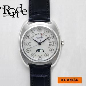 エルメス HERMES メンズ腕時計 ドレサージュ ムーンフェイズ DR2765 Pt/革/K18WG シェル文字盤 中古 新入荷 おすすめ|ronde