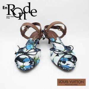 ルイ・ヴィトン LOUISVUITTON 靴スカーフ サンダル レザー/キャンバス 青/茶 中古 新入荷 新着|ronde