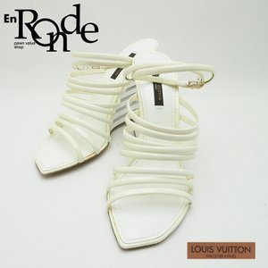 ルイ・ヴィトン LOUISVUITTON 靴スカーフ サンダル レザー/エナメル 白/ベージュ 中古 新入荷 新着|ronde