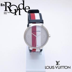 ルイ・ヴィトン LOUISVUITTON メンズ腕時計 タンブールMM Q1D02 SS/革 ストライプ文字盤 中古 新入荷 おすすめ LV0591 新着|ronde