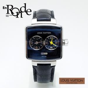 ルイ・ヴィトン LOUISVUITTON ボーイズ腕時計 スピーディ デュオ ジェット Q237G SS(ステンレス)/革 黒文字盤 中古 新入荷|ronde
