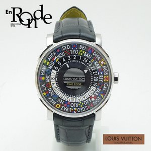 ルイ・ヴィトン LOUISVUITTON メンズ腕時計 エスカル タイムゾーン Q5D200 SS(ステンレス)/革 ブラック/イエロー 中古 新入荷|ronde