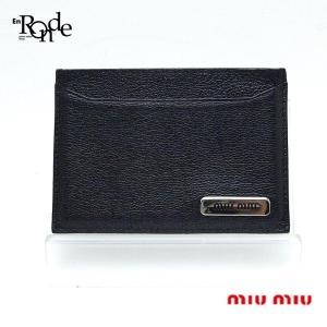 ミュウミュウ 財布 ミュウミュウ カードケース レザー 黒、 中古 新着...