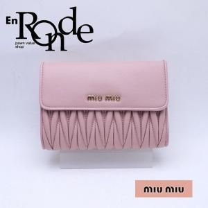 ミュウミュウ 二つ折財布 三ツ折り財布 マテラッセ 5ML225 レザー ピンク 中古 新入荷 おすすめ 新着|ronde